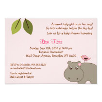 Girl Hippo Custom Baby Shower Invitations