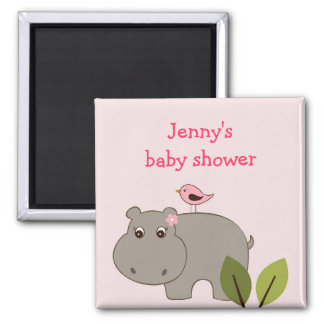 Girl Hippo Party Favor Personalized Magnets