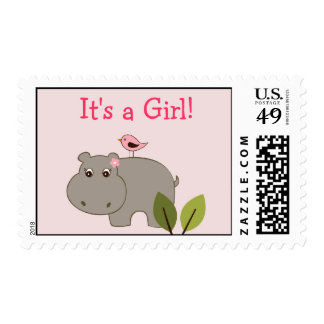 Girl Hippo Personalized Postage Stamps