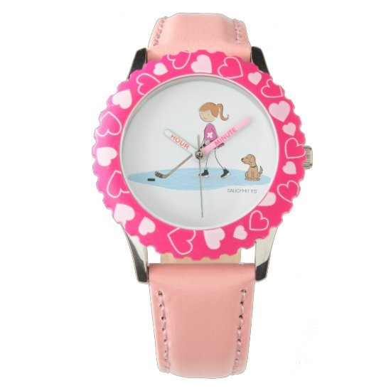 Girl Hockey Cartoon Pink Wrist Watch