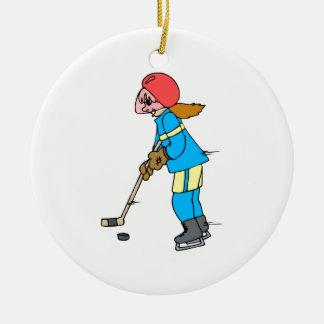 Girl Hockey Player Ceramic Ornament