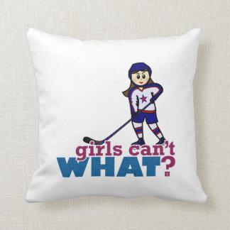 Girl Hockey Player Throw Pillow