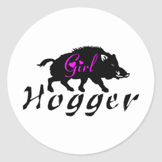 GIRL HOG HUNTING CLASSIC ROUND STICKER