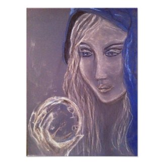 Girl holding a crystal ball