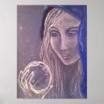 Girl holding a crystal ball print