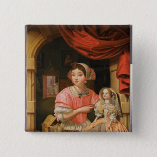 Girl holding a doll in an interior button