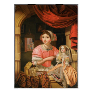 Girl holding a doll in an interior postcard