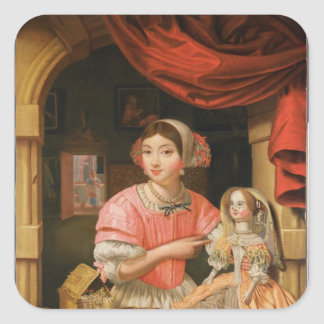 Girl holding a doll in an interior square sticker