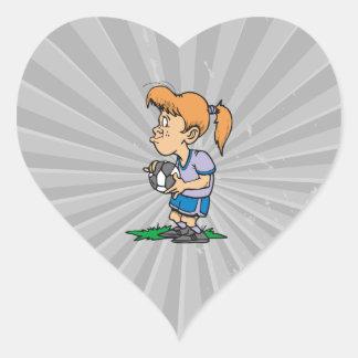 girl holding a soccer ball heart sticker