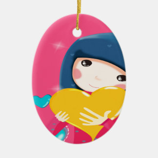 Girl Holding a Yellow Heart, Daughter Birthday Ceramic Ornament