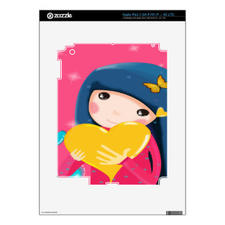 Girl Holding a Yellow Heart, Daughter Birthday Decal For iPad 3