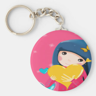 Girl Holding a Yellow Heart, Daughter Birthday Keychain