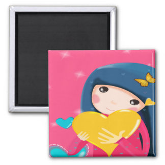 Girl Holding a Yellow Heart Daughter Birthday Magnets