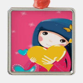 Girl Holding a Yellow Heart, Daughter Birthday Metal Ornament