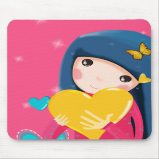 Girl Holding a Yellow Heart, Daughter Birthday Mouse Pad