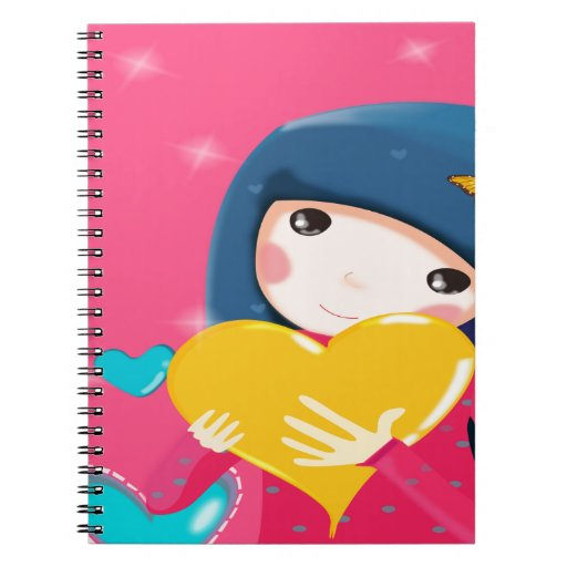 Girl Holding a Yellow Heart, Daughter Birthday Spiral Note Book