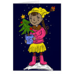 Girl Holding Christmas Tree Stationery Note Card