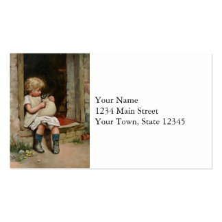 Girl Holding Cute Puppy Vintage Business Card Templates