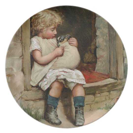 Girl Holding Cute Puppy Vintage Melamine Plate