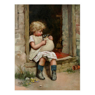 Girl Holding Cute Puppy Vintage Postcards