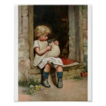 Girl Holding Cute Puppy Vintage Print