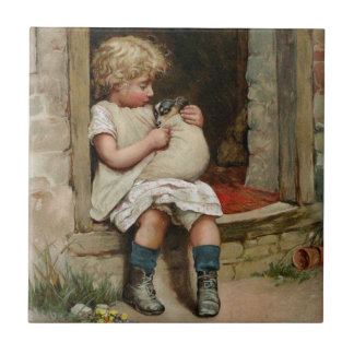 Girl Holding Cute Puppy Vintage Tile