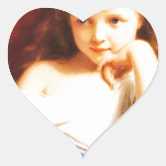 Girl Holding Doll (Vintage Art) Heart Sticker
