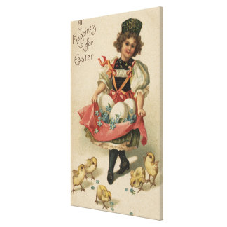 Girl Holding Eggs with Chicks Canvas Print