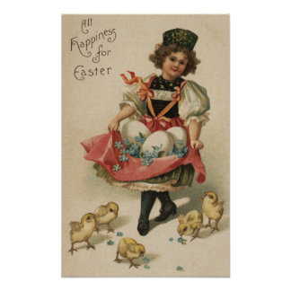 Girl Holding Eggs with Chicks Poster