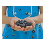 Girl holding fresh blueberries print