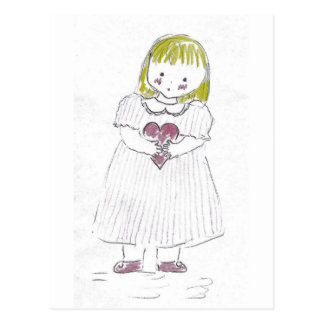 Girl holding Heart Postcard