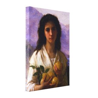 Girl Holding Lemons by Bouguereau Canvas Print