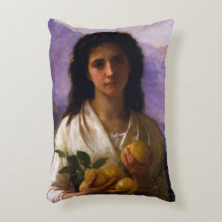 Girl Holding Lemons by William-Adolphe Bouguereau Decorative Pillow