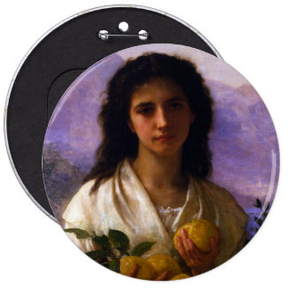 Girl Holding Lemons by William-Adolphe Bouguereau Pinback Button