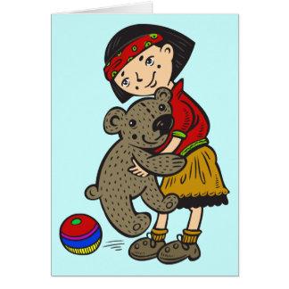 Girl Holding Teddy Bear Card