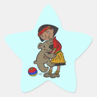 Girl Holding Teddy Bear Star Sticker