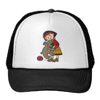 Girl Holding Teddy Bear Trucker Hat