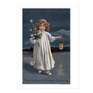 Girl Holding Tree and Lantern Postcard