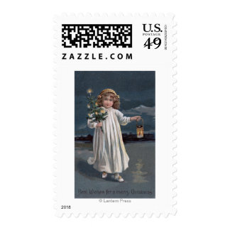 Girl Holding Tree and Lantern Stamp