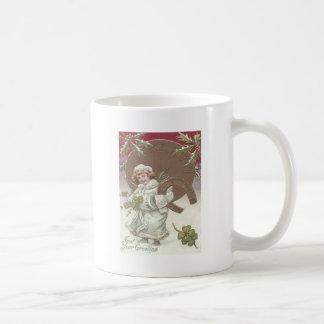 Girl Holly Clock Horseshoe Four Leaf Clover Classic White Coffee Mug