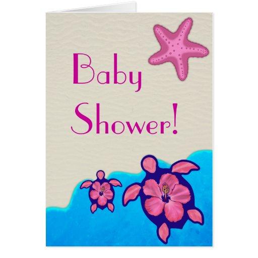 girl honu baby shower greeting card