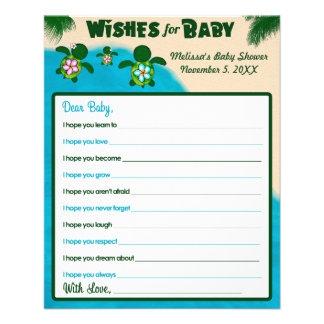 Girl Honu Sea Turtle Wishes for Baby Shower Pink Flyer