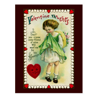 Girl Hoping for Valentine Postcard