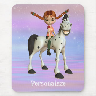 Girl & Horse Magical Fantasy Personalized Mousepad