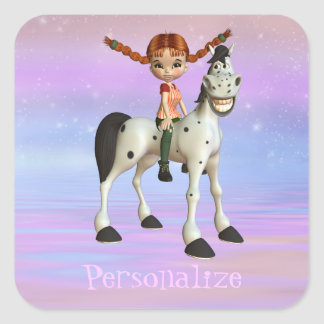 Girl & Horse Magical Fantasy Personalized Stickers
