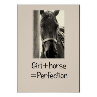 """""""Girl+Horse=Perfection"""" Sepuia Horse Poster"""