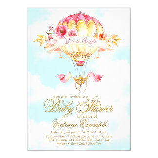 Girl Hot Air Balloon Baby Shower Invitations