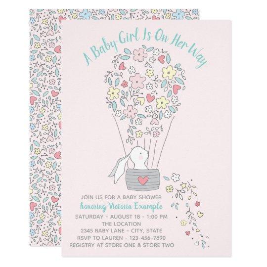 Hot Air Balloon Bunny Baby Shower Invitations