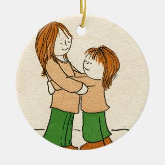 Girl Hug Ceramic Ornament
