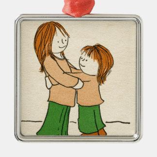 Girl Hug Metal Ornament